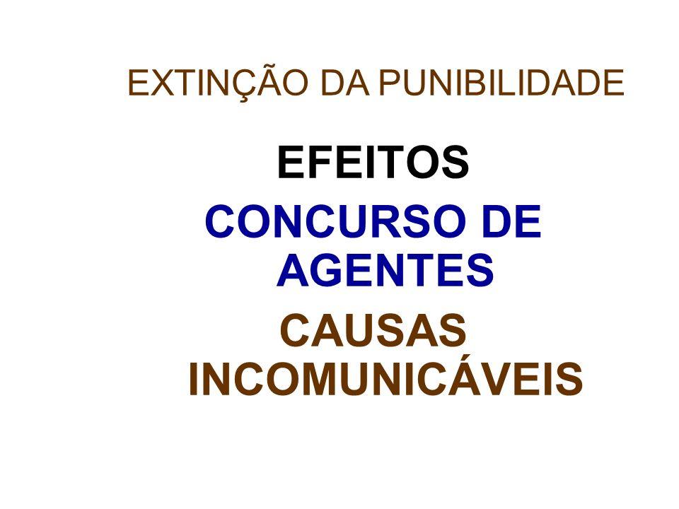EFEITOS CONCURSO DE AGENTES CAUSAS INCOMUNICÁVEIS EXTINÇÃO DA PUNIBILIDADE