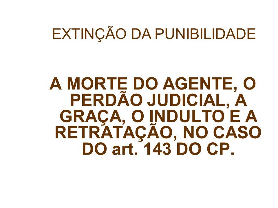 A MORTE DO AGENTE, O PERDÃO JUDICIAL, A GRAÇA, O INDULTO E A RETRATAÇÃO, NO CASO DO art. 143 DO CP. EXTINÇÃO DA PUNIBILIDADE