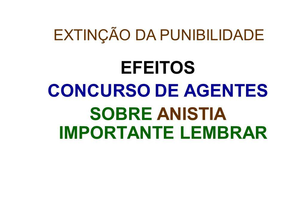 EFEITOS CONCURSO DE AGENTES SOBRE ANISTIA IMPORTANTE LEMBRAR EXTINÇÃO DA PUNIBILIDADE