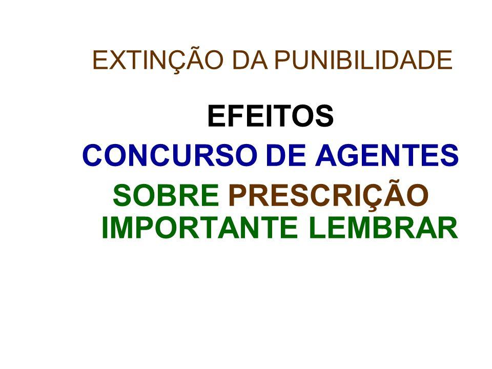 EFEITOS CONCURSO DE AGENTES SOBRE PRESCRIÇÃO IMPORTANTE LEMBRAR EXTINÇÃO DA PUNIBILIDADE