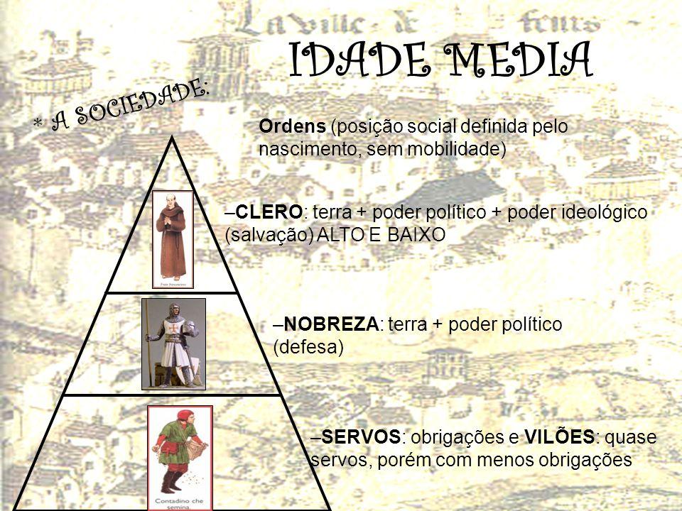 * A S O C I E D A D E : Ordens (posição social definida pelo nascimento, sem mobilidade) –CLERO: terra + poder político + poder ideológico (salvação)