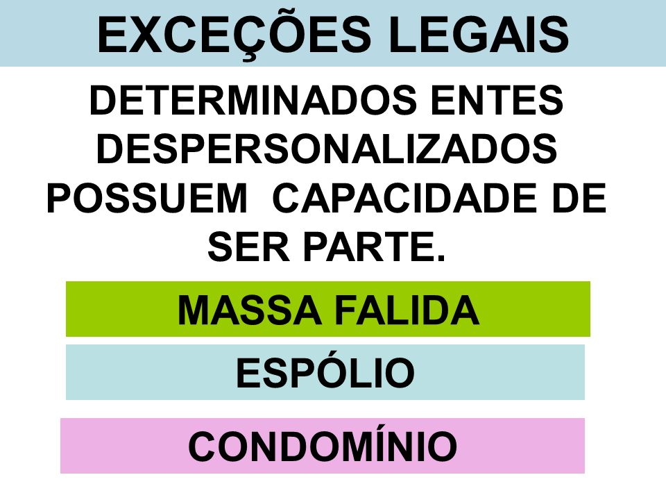 EXCEÇÕES LEGAIS DETERMINADOS ENTES DESPERSONALIZADOS POSSUEM CAPACIDADE DE SER PARTE. MASSA FALIDA ESPÓLIO CONDOMÍNIO