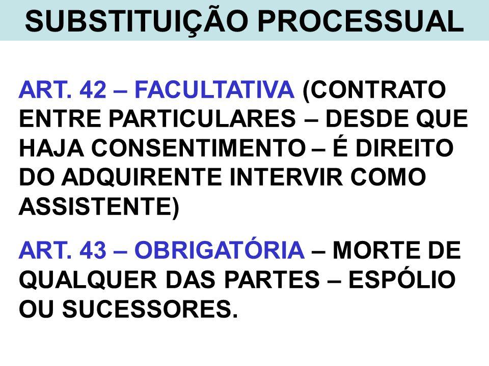 SUBSTITUIÇÃO PROCESSUAL ART. 42 – FACULTATIVA (CONTRATO ENTRE PARTICULARES – DESDE QUE HAJA CONSENTIMENTO – É DIREITO DO ADQUIRENTE INTERVIR COMO ASSI