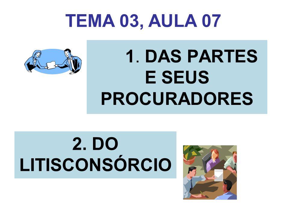 1. DAS PARTES E SEUS PROCURADORES 2. DO LITISCONSÓRCIO TEMA 03, AULA 07