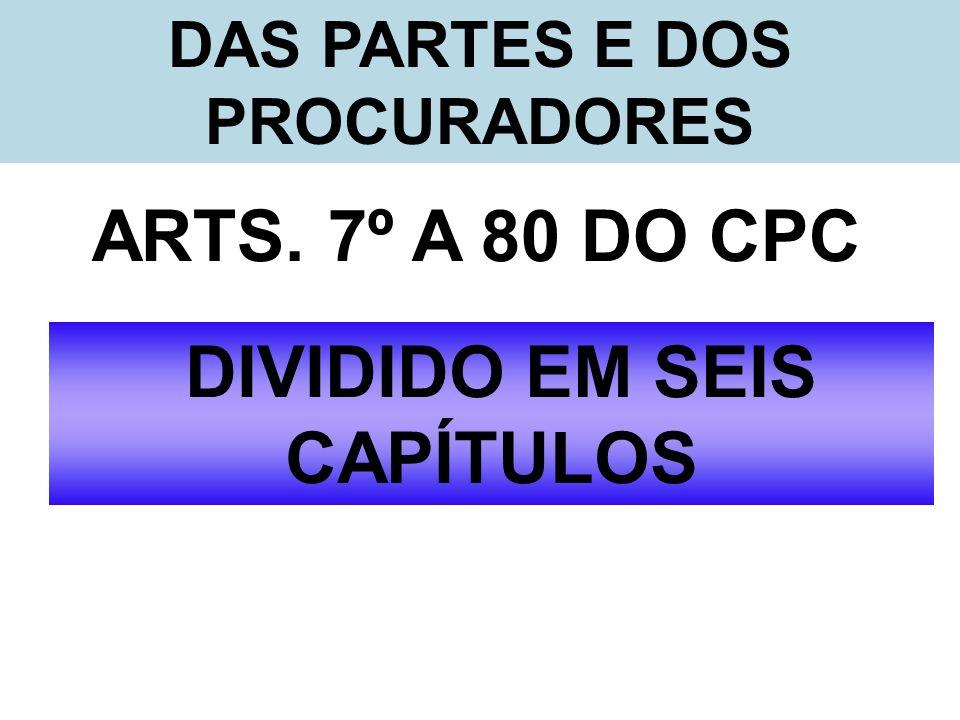DAS PARTES E DOS PROCURADORES ARTS. 7º A 80 DO CPC DIVIDIDO EM SEIS CAPÍTULOS