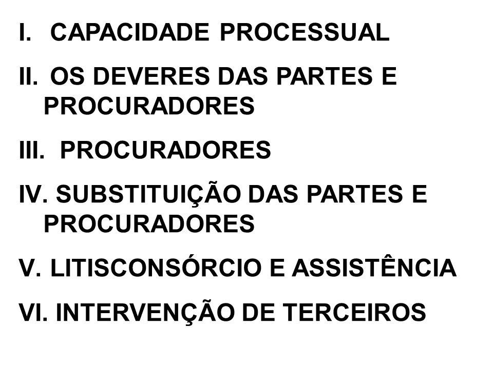 I. CAPACIDADE PROCESSUAL II. OS DEVERES DAS PARTES E PROCURADORES III. PROCURADORES IV. SUBSTITUIÇÃO DAS PARTES E PROCURADORES V. LITISCONSÓRCIO E ASS
