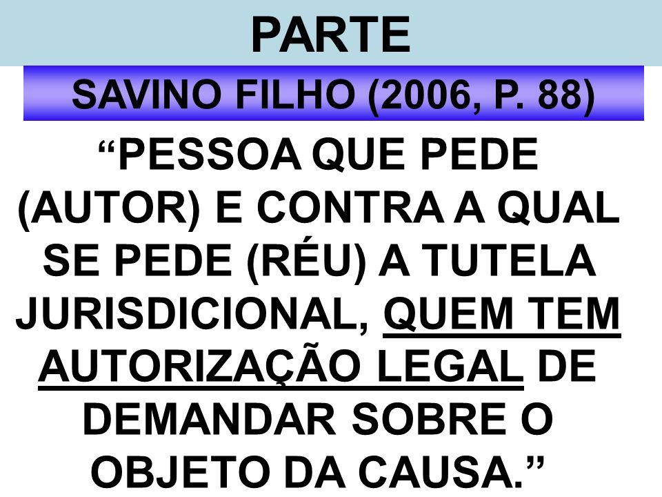 PARTE SAVINO FILHO (2006, P. 88) PESSOA QUE PEDE (AUTOR) E CONTRA A QUAL SE PEDE (RÉU) A TUTELA JURISDICIONAL, QUEM TEM AUTORIZAÇÃO LEGAL DE DEMANDAR