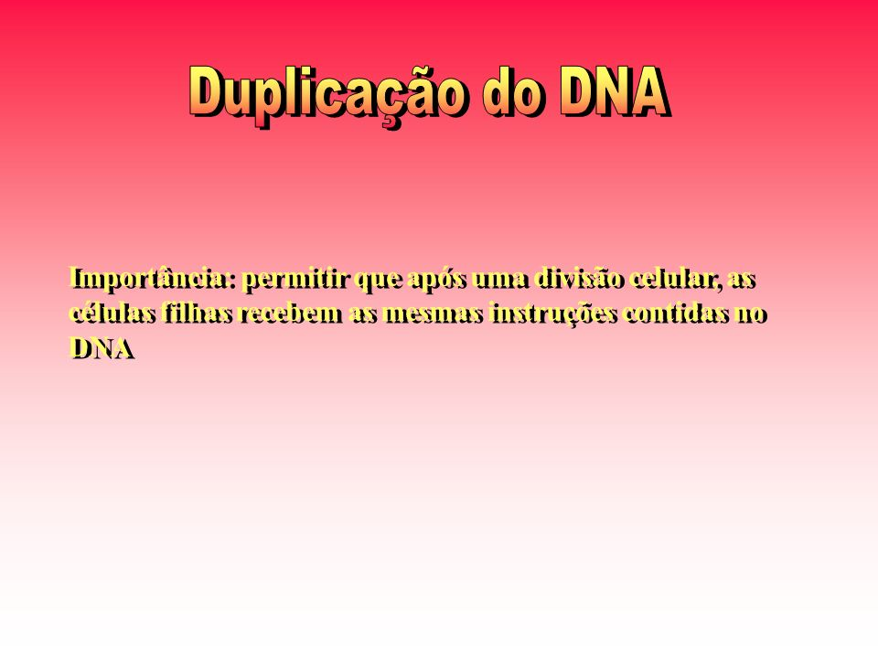 Importância: permitir que após uma divisão celular, as células filhas recebem as mesmas instruções contidas no DNA