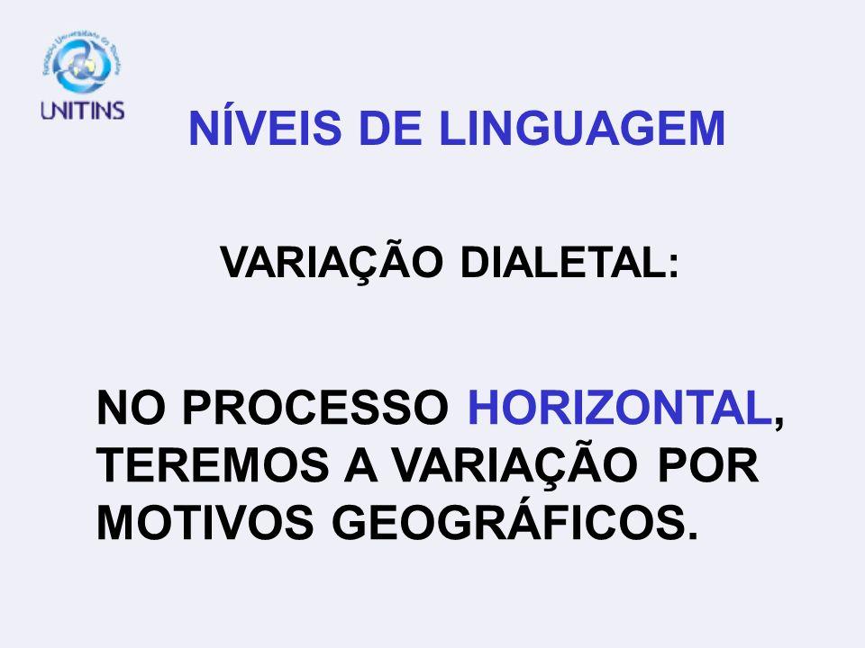 NÍVEIS DE LINGUAGEM VARIAÇÃO DIALETAL: NO PROCESSO HORIZONTAL, TEREMOS A VARIAÇÃO POR MOTIVOS GEOGRÁFICOS.