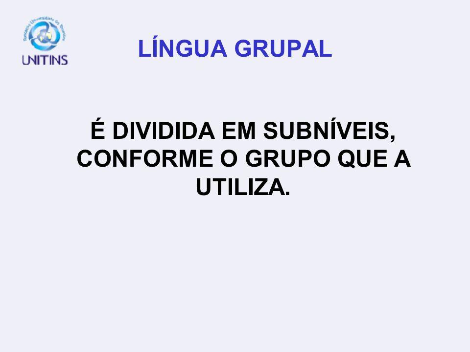LÍNGUA GRUPAL É DIVIDIDA EM SUBNÍVEIS, CONFORME O GRUPO QUE A UTILIZA.