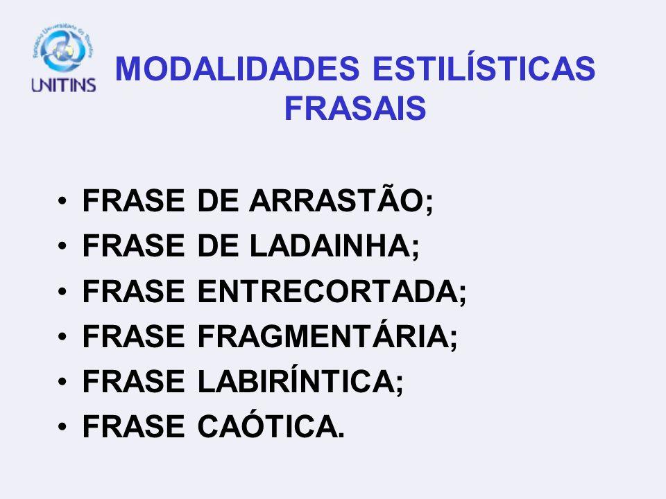 MODALIDADES ESTILÍSTICAS FRASAIS FRASE DE ARRASTÃO; FRASE DE LADAINHA; FRASE ENTRECORTADA; FRASE FRAGMENTÁRIA; FRASE LABIRÍNTICA; FRASE CAÓTICA.