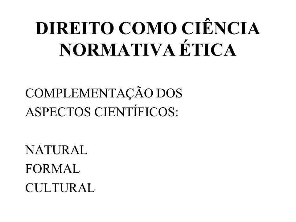 DIREITO COMO CIÊNCIA NORMATIVA ÉTICA COMPLEMENTAÇÃO DOS ASPECTOS CIENTÍFICOS: NATURAL FORMAL CULTURAL