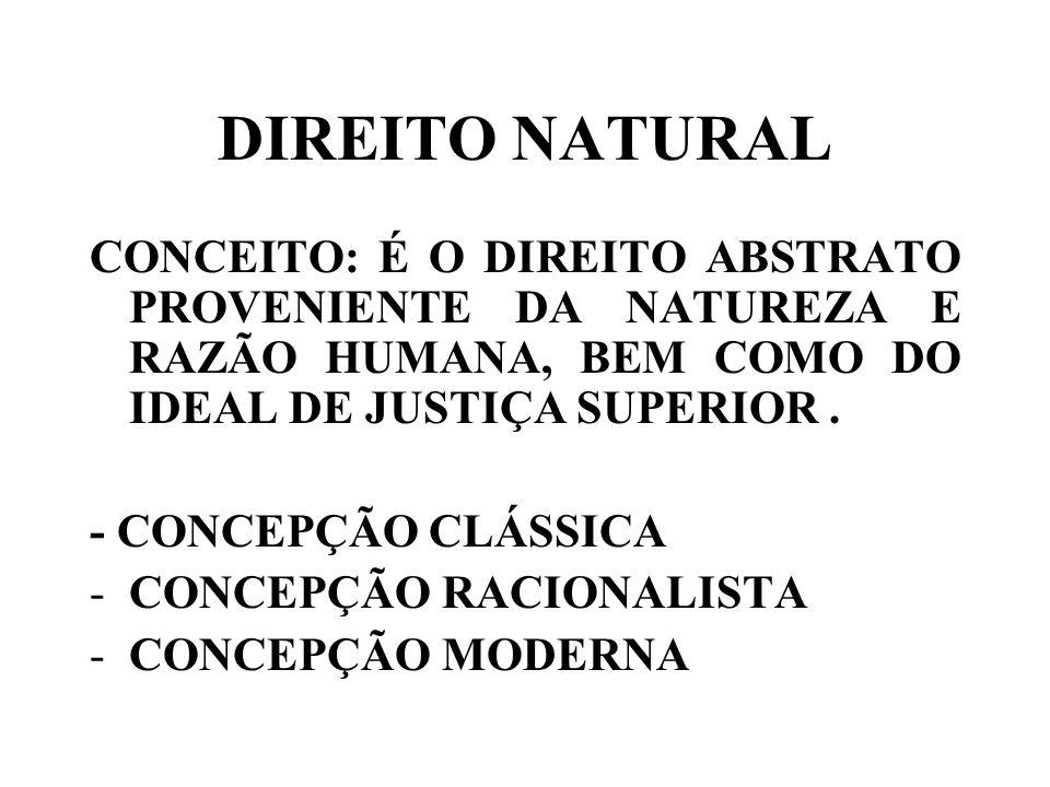 DIREITO NATURAL CONCEITO: É O DIREITO ABSTRATO PROVENIENTE DA NATUREZA E RAZÃO HUMANA, BEM COMO DO IDEAL DE JUSTIÇA SUPERIOR. - CONCEPÇÃO CLÁSSICA -CO