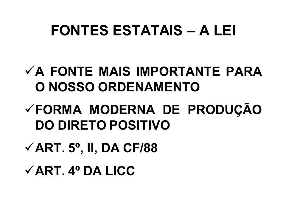 FONTES ESTATAIS – A LEI A FONTE MAIS IMPORTANTE PARA O NOSSO ORDENAMENTO FORMA MODERNA DE PRODUÇÃO DO DIRETO POSITIVO ART. 5º, II, DA CF/88 ART. 4º DA