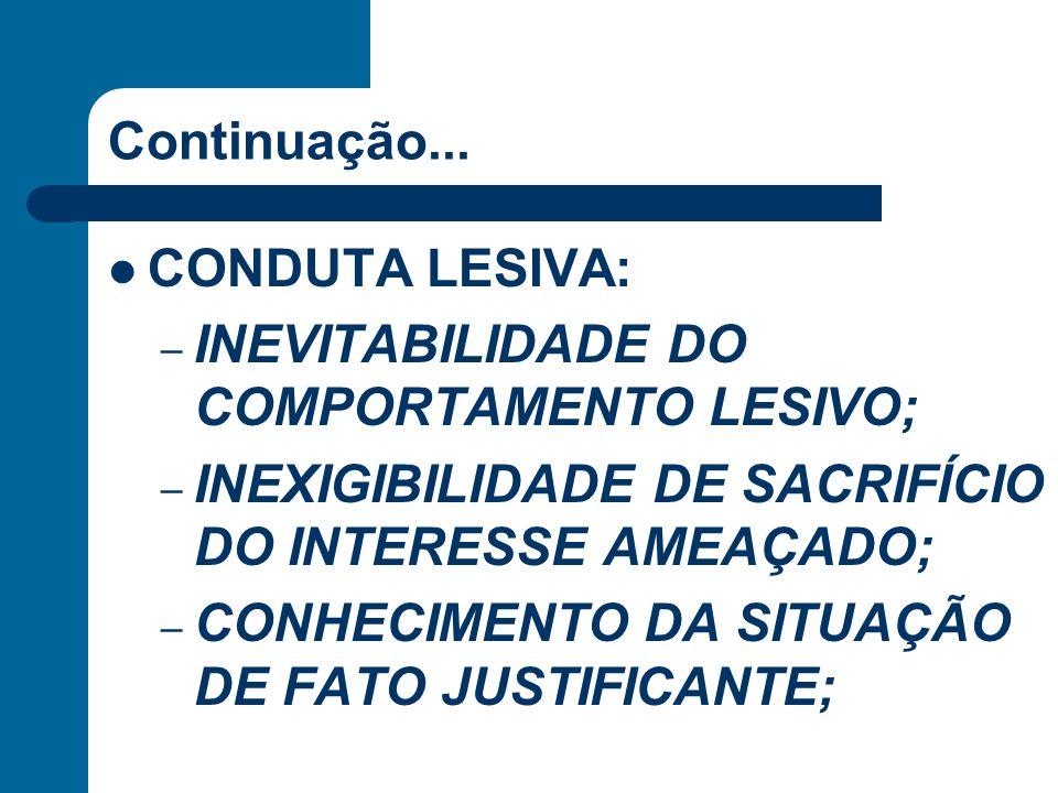 Continuação... CONDUTA LESIVA: – INEVITABILIDADE DO COMPORTAMENTO LESIVO; – INEXIGIBILIDADE DE SACRIFÍCIO DO INTERESSE AMEAÇADO; – CONHECIMENTO DA SIT