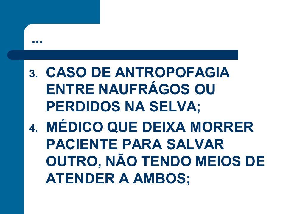 ... 3. CASO DE ANTROPOFAGIA ENTRE NAUFRÁGOS OU PERDIDOS NA SELVA; 4. MÉDICO QUE DEIXA MORRER PACIENTE PARA SALVAR OUTRO, NÃO TENDO MEIOS DE ATENDER A