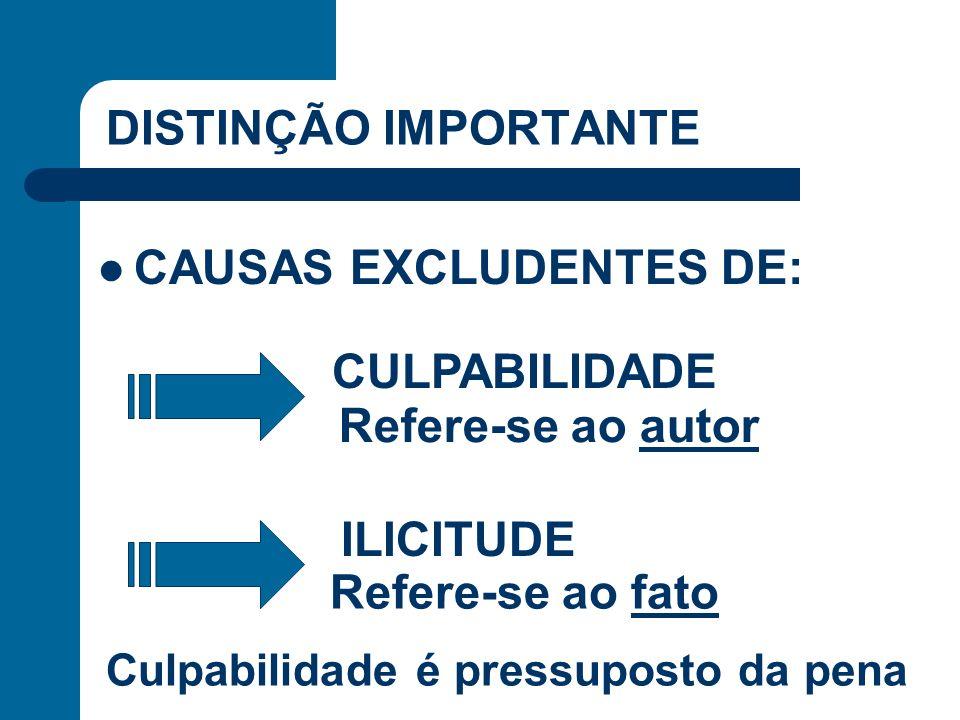DISTINÇÃO IMPORTANTE CAUSAS EXCLUDENTES DE: CULPABILIDADE ILICITUDE Refere-se ao autor Refere-se ao fato Culpabilidade é pressuposto da pena