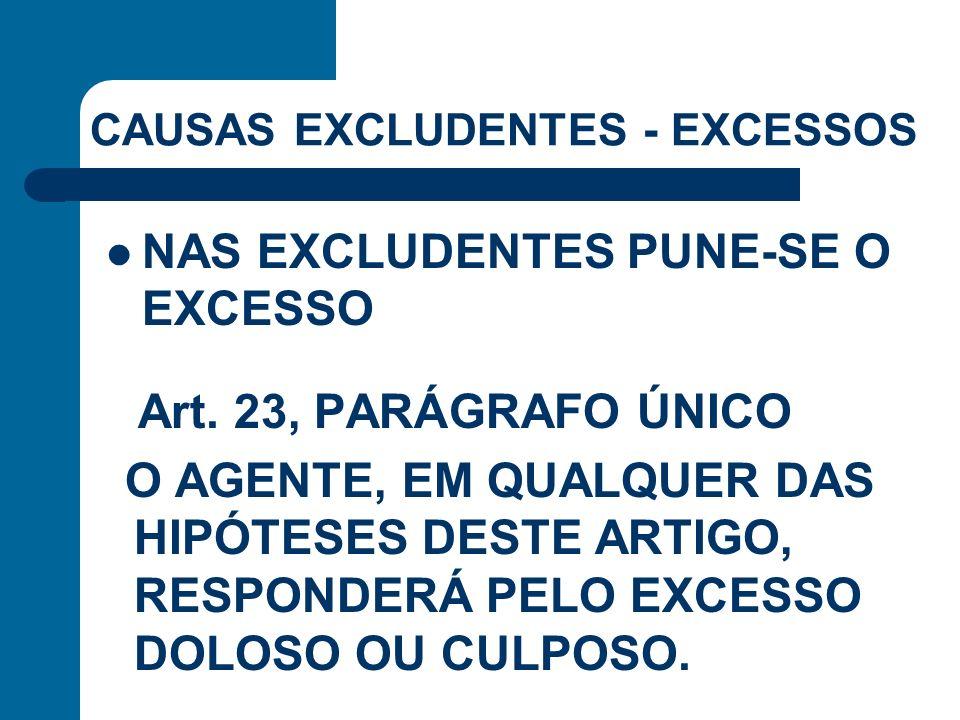Art. 23, PARÁGRAFO ÚNICO O AGENTE, EM QUALQUER DAS HIPÓTESES DESTE ARTIGO, RESPONDERÁ PELO EXCESSO DOLOSO OU CULPOSO. NAS EXCLUDENTES PUNE-SE O EXCESS
