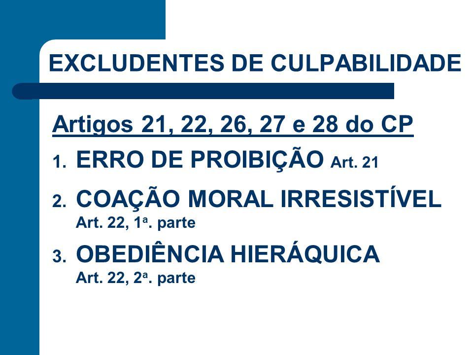EXCLUDENTES DE CULPABILIDADE Artigos 21, 22, 26, 27 e 28 do CP 1. ERRO DE PROIBIÇÃO Art. 21 2. COAÇÃO MORAL IRRESISTÍVEL Art. 22, 1 a. parte 3. OBEDIÊ