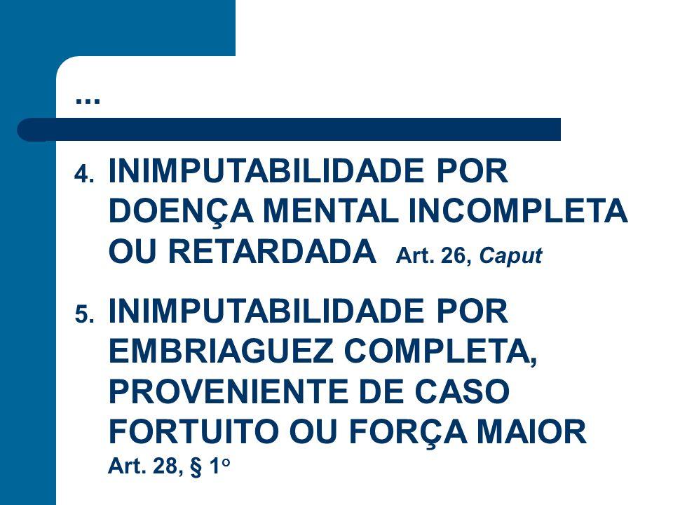 ... 4. INIMPUTABILIDADE POR DOENÇA MENTAL INCOMPLETA OU RETARDADA Art. 26, Caput 5. INIMPUTABILIDADE POR EMBRIAGUEZ COMPLETA, PROVENIENTE DE CASO FORT