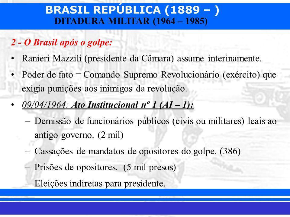 BRASIL REPÚBLICA (1889 – ) Prof. Iair iair@pop.com.br DITADURA MILITAR (1964 – 1985)