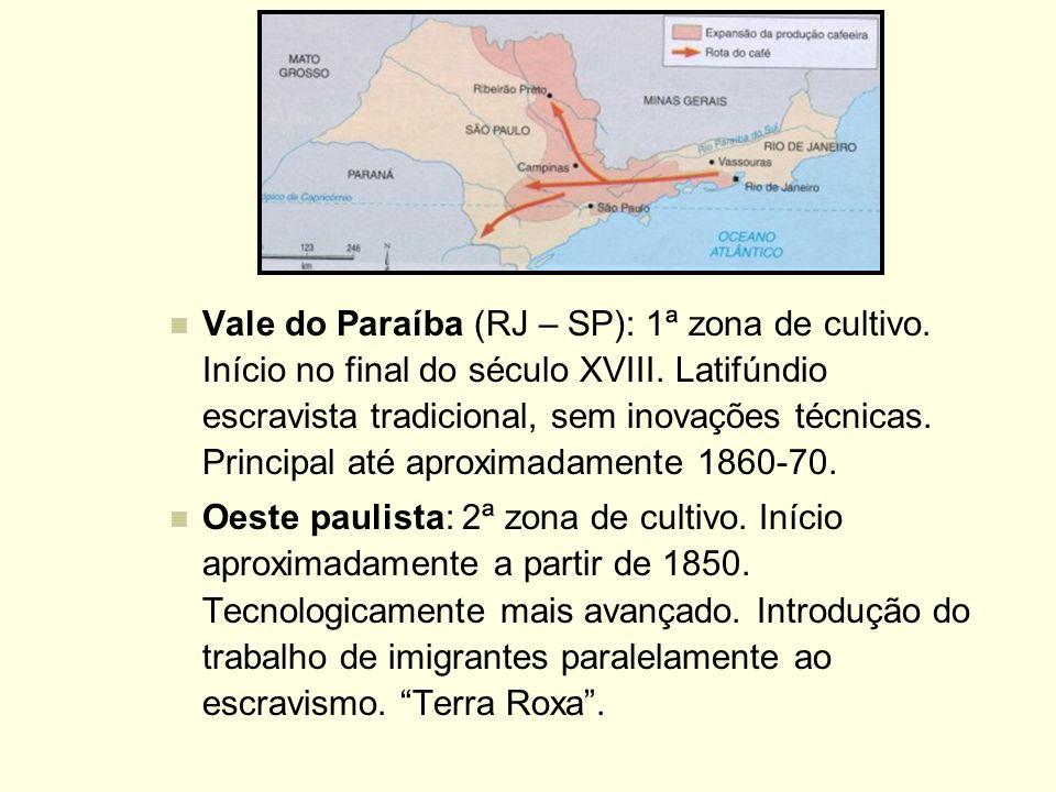 Vale do Paraíba (RJ – SP): 1ª zona de cultivo. Início no final do século XVIII. Latifúndio escravista tradicional, sem inovações técnicas. Principal a