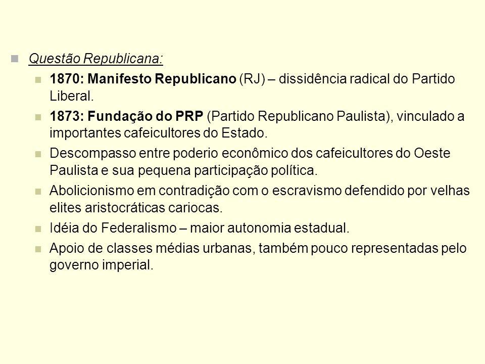 Questão Republicana: 1870: Manifesto Republicano (RJ) – dissidência radical do Partido Liberal. 1873: Fundação do PRP (Partido Republicano Paulista),