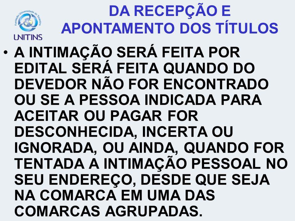DA RECEPÇÃO E APONTAMENTO DOS TÍTULOS AS DESPESAS DE INTIMAÇÃO SERÃO FIXADAS JUIZ CORREGEDOR PERMANENTE.