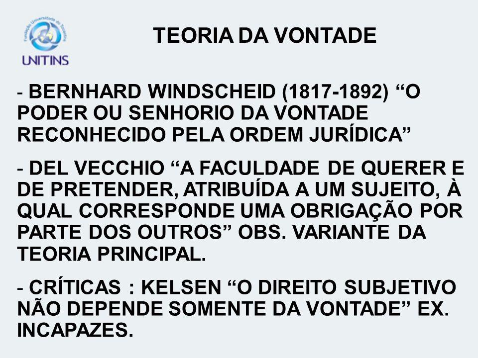 TEORIA DA VONTADE - BERNHARD WINDSCHEID (1817-1892) O PODER OU SENHORIO DA VONTADE RECONHECIDO PELA ORDEM JURÍDICA - DEL VECCHIO A FACULDADE DE QUERER
