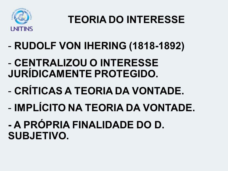- RUDOLF VON IHERING (1818-1892) - CENTRALIZOU O INTERESSE JURÍDICAMENTE PROTEGIDO. - CRÍTICAS A TEORIA DA VONTADE. - IMPLÍCITO NA TEORIA DA VONTADE.