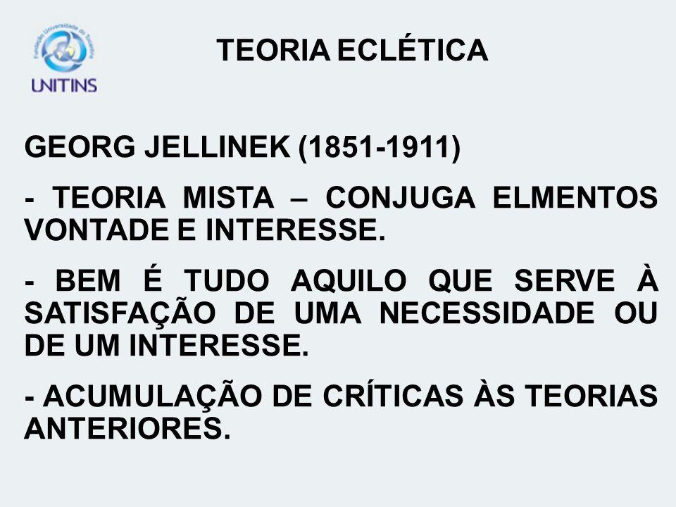 GEORG JELLINEK (1851-1911) - TEORIA MISTA – CONJUGA ELMENTOS VONTADE E INTERESSE. - BEM É TUDO AQUILO QUE SERVE À SATISFAÇÃO DE UMA NECESSIDADE OU DE