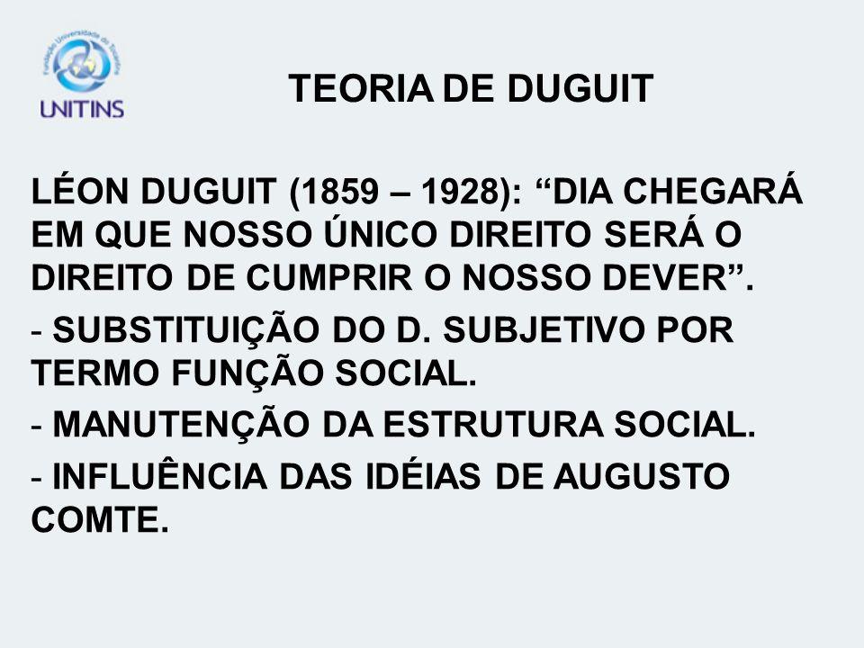LÉON DUGUIT (1859 – 1928): DIA CHEGARÁ EM QUE NOSSO ÚNICO DIREITO SERÁ O DIREITO DE CUMPRIR O NOSSO DEVER. - SUBSTITUIÇÃO DO D. SUBJETIVO POR TERMO FU