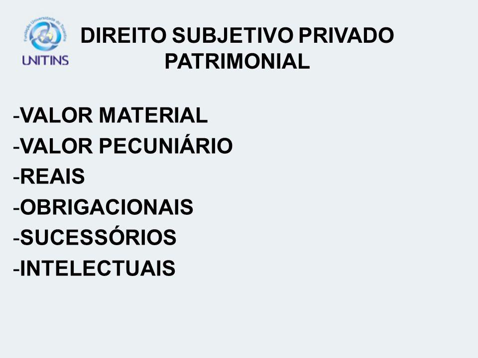 DIREITO SUBJETIVO PRIVADO PATRIMONIAL -VALOR MATERIAL -VALOR PECUNIÁRIO -REAIS -OBRIGACIONAIS -SUCESSÓRIOS -INTELECTUAIS