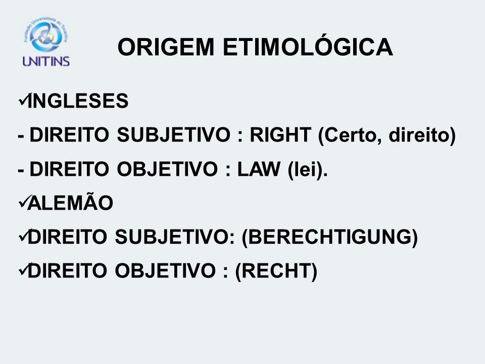 INGLESES - DIREITO SUBJETIVO : RIGHT (Certo, direito) - DIREITO OBJETIVO : LAW (lei). ALEMÃO DIREITO SUBJETIVO: (BERECHTIGUNG) DIREITO OBJETIVO : (REC