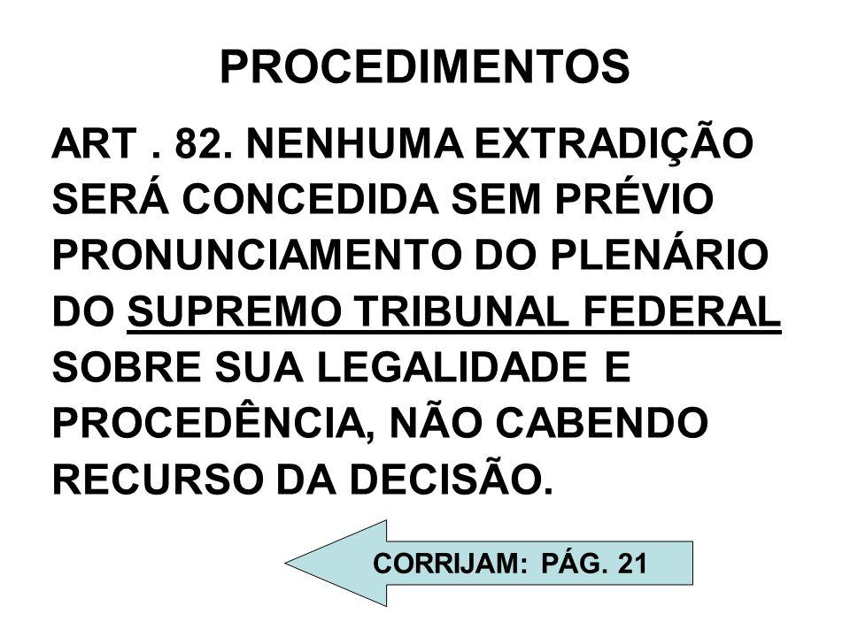 PROCEDIMENTOS ART. 82. NENHUMA EXTRADIÇÃO SERÁ CONCEDIDA SEM PRÉVIO PRONUNCIAMENTO DO PLENÁRIO DO SUPREMO TRIBUNAL FEDERAL SOBRE SUA LEGALIDADE E PROC