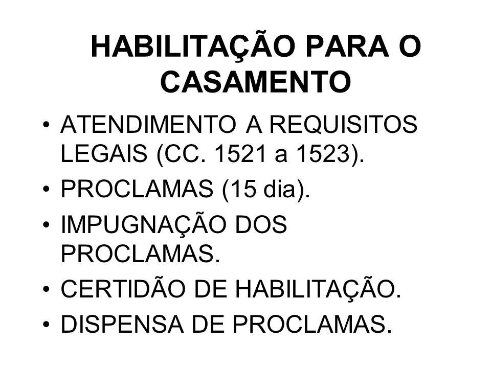 HABILITAÇÃO PARA O CASAMENTO ATENDIMENTO A REQUISITOS LEGAIS (CC. 1521 a 1523). PROCLAMAS (15 dia). IMPUGNAÇÃO DOS PROCLAMAS. CERTIDÃO DE HABILITAÇÃO.