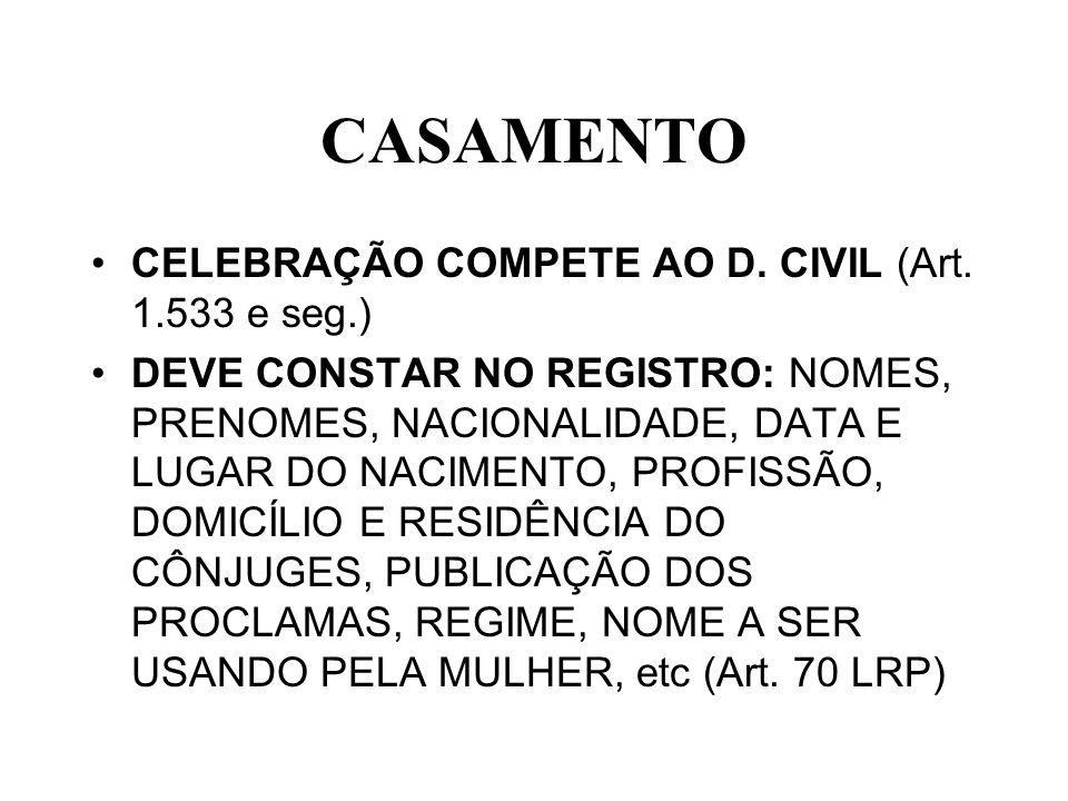 CASAMENTO CELEBRAÇÃO COMPETE AO D. CIVIL (Art. 1.533 e seg.) DEVE CONSTAR NO REGISTRO: NOMES, PRENOMES, NACIONALIDADE, DATA E LUGAR DO NACIMENTO, PROF