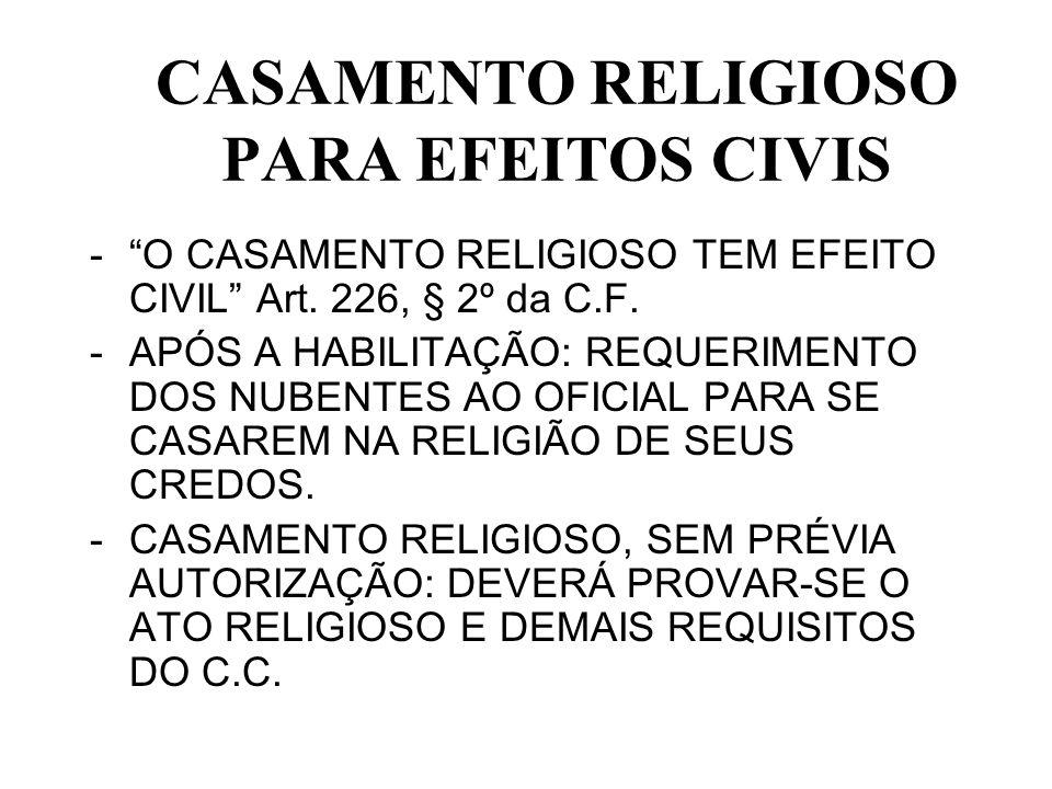CASAMENTO RELIGIOSO PARA EFEITOS CIVIS -O CASAMENTO RELIGIOSO TEM EFEITO CIVIL Art. 226, § 2º da C.F. -APÓS A HABILITAÇÃO: REQUERIMENTO DOS NUBENTES A