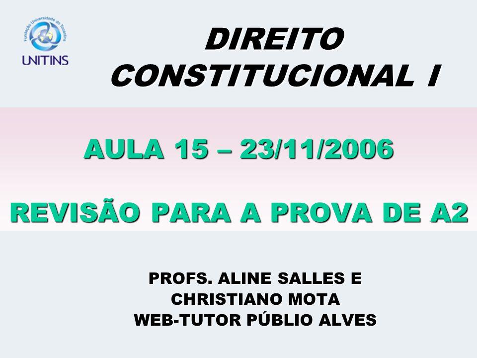 AULA 15 – 23/11/2006 REVISÃO PARA A PROVA DE A2 PROFS.