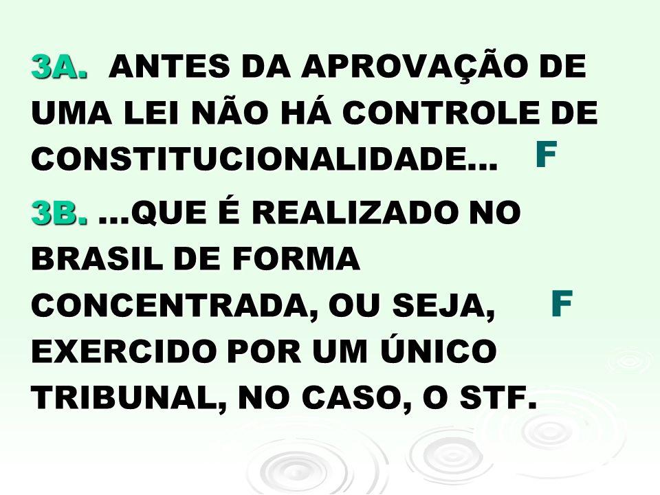 3A. ANTES DA APROVAÇÃO DE UMA LEI NÃO HÁ CONTROLE DE CONSTITUCIONALIDADE...