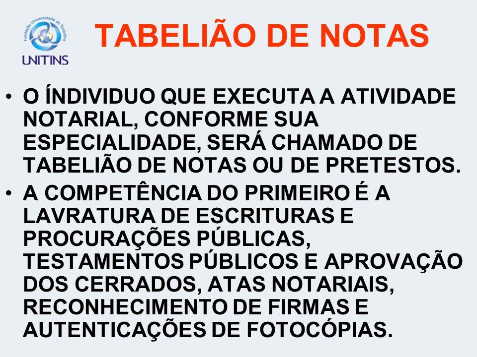TABELIÃO DE NOTAS A FUNÇÃO DO TABELIÃO DE NOTAS É CONCEDIDA PELO PODER PÚBLICO, MEDIANTE DELEGAÇÃO, APÓS CUNCURSO PÚBLICO, REALIZADO PELO PODER JUDICI