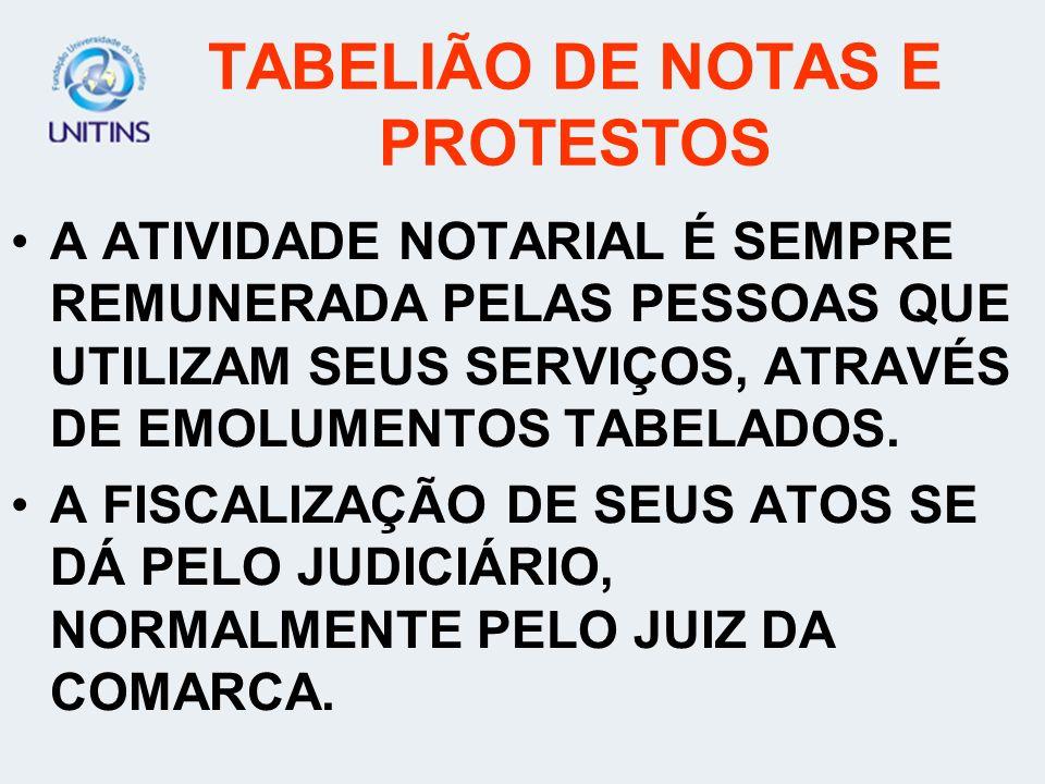 TABELIÃO DE PROTESTOS A COMPETÊNCIA DO TABELIÃO DE PROTESTOS DIZ RESPEITO À EXECUÇÃO DE TODOS OS ATOS RELACIONADOS À INSCRIÇÃO DE PROTESTOS DOS TÍTULO