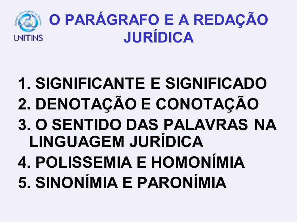 O PARÁGRAFO E A REDAÇÃO JURÍDICA 1.SIGNIFICANTE E SIGNIFICADO 2.