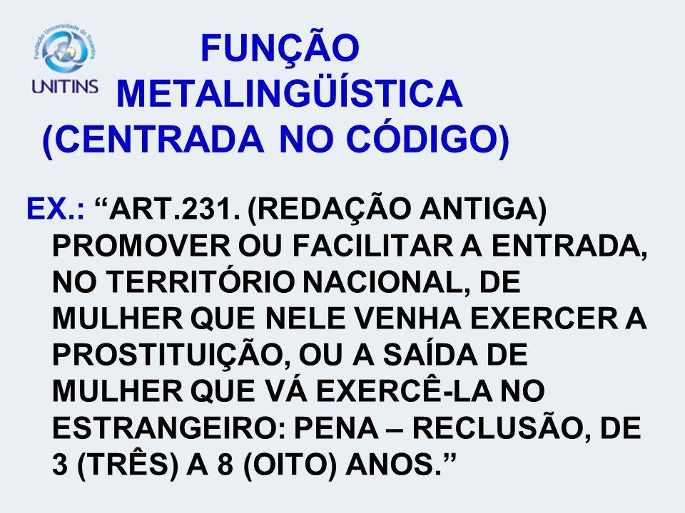 FUNÇÃO METALINGÜÍSTICA (CENTRADA NO CÓDIGO) EX.: ART.231.