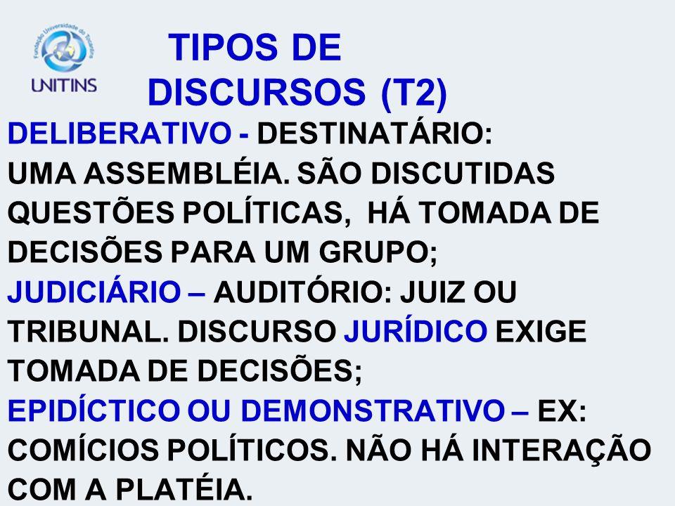 TIPOS DE DISCURSOS (T2) DELIBERATIVO - DESTINATÁRIO: UMA ASSEMBLÉIA.
