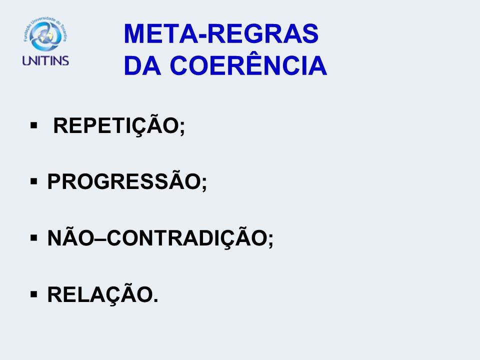 META-REGRAS DA COERÊNCIA REPETIÇÃO; PROGRESSÃO; NÃO–CONTRADIÇÃO; RELAÇÃO.