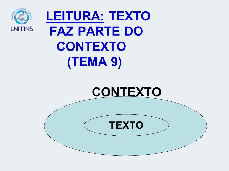LEITURA: TEXTO FAZ PARTE DO CONTEXTO (TEMA 9) CONTEXTO TEXTO