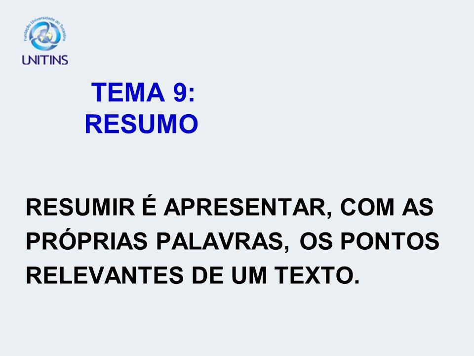 TEMA 9: RESUMO RESUMIR É APRESENTAR, COM AS PRÓPRIAS PALAVRAS, OS PONTOS RELEVANTES DE UM TEXTO.