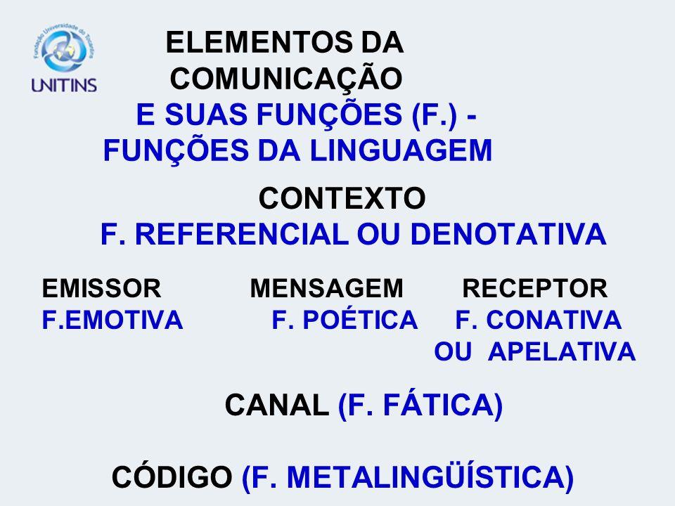 ELEMENTOS DA COMUNICAÇÃO E SUAS FUNÇÕES (F.) - FUNÇÕES DA LINGUAGEM CONTEXTO F.