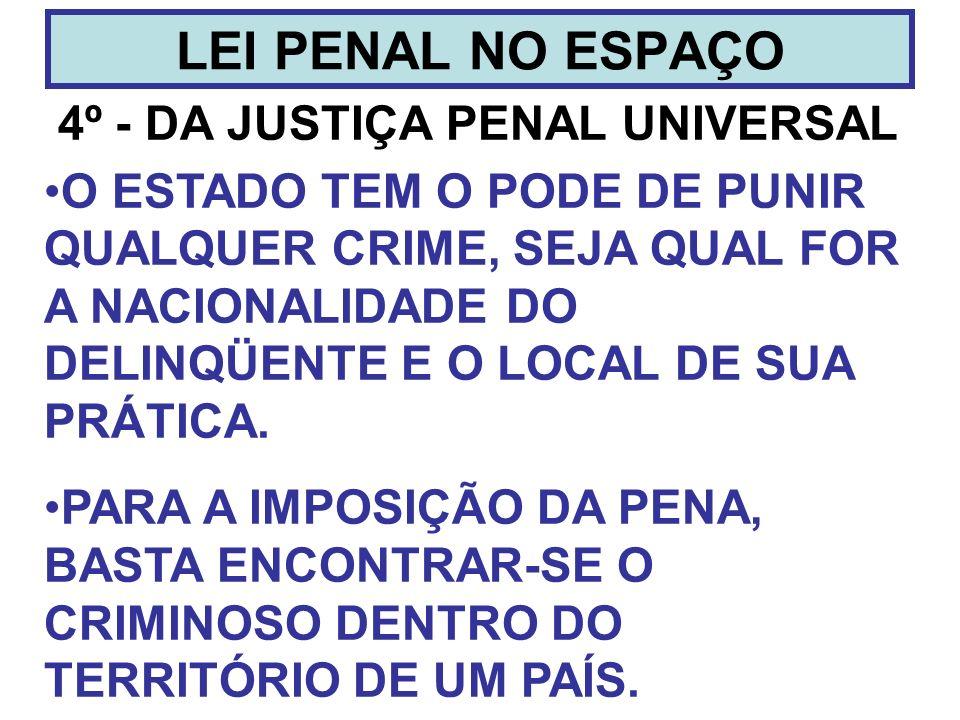 4º - DA JUSTIÇA PENAL UNIVERSAL LEI PENAL NO ESPAÇO O ESTADO TEM O PODE DE PUNIR QUALQUER CRIME, SEJA QUAL FOR A NACIONALIDADE DO DELINQÜENTE E O LOCA